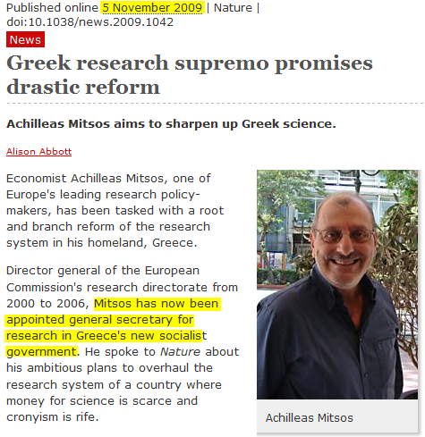 Nature magazine selects new Greek General Secretary of Research and Technology