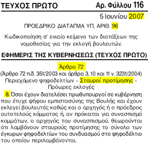 Former Prime ministers automatically elected in Greece
