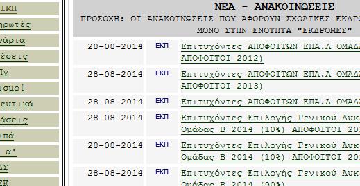 Επιτυχόντες 2014 σε ΑΕΙ -ΤΕΙ νομού Ηρακλείου